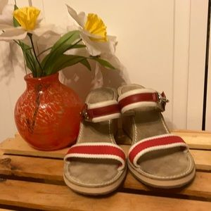Coach Camilla Red White Sandal Wedge  Size 81/2 B